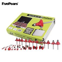Fivepears 6 Millimetri Shank 35 Pcs Router Bits Set Professionale per La Lavorazione Del Legno Carburo di Tungsteno Fresa con Scatola di Immagazzinaggio Del Metallo