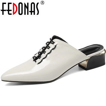 FEDONAS Women Genuine Leather Pointed Toe Thick Heels Slippers Mules Basic Shoes Summer Elegant Sandals Laec Up Shoes Woman