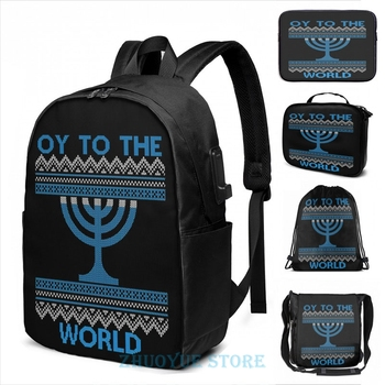 Divertido estampado gráfico Oy To The World Hanuka Ugly Sweater USB Charge mochila hombres mochilas escolares mujeres bolsa viaje laptop bolsa