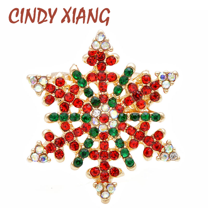 CINDY XIANG Rhinestone Red And Green Snowflake Christmas Brooches For Women Men Unisex Fashion Vintage Brooch Pin Winter