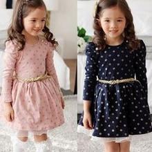 Детское хлопковое платье с длинными рукавами; осеннее платье в горошек для принцессы; праздничная одежда; зимнее кружевное платье для девочек; детская повседневная одежда