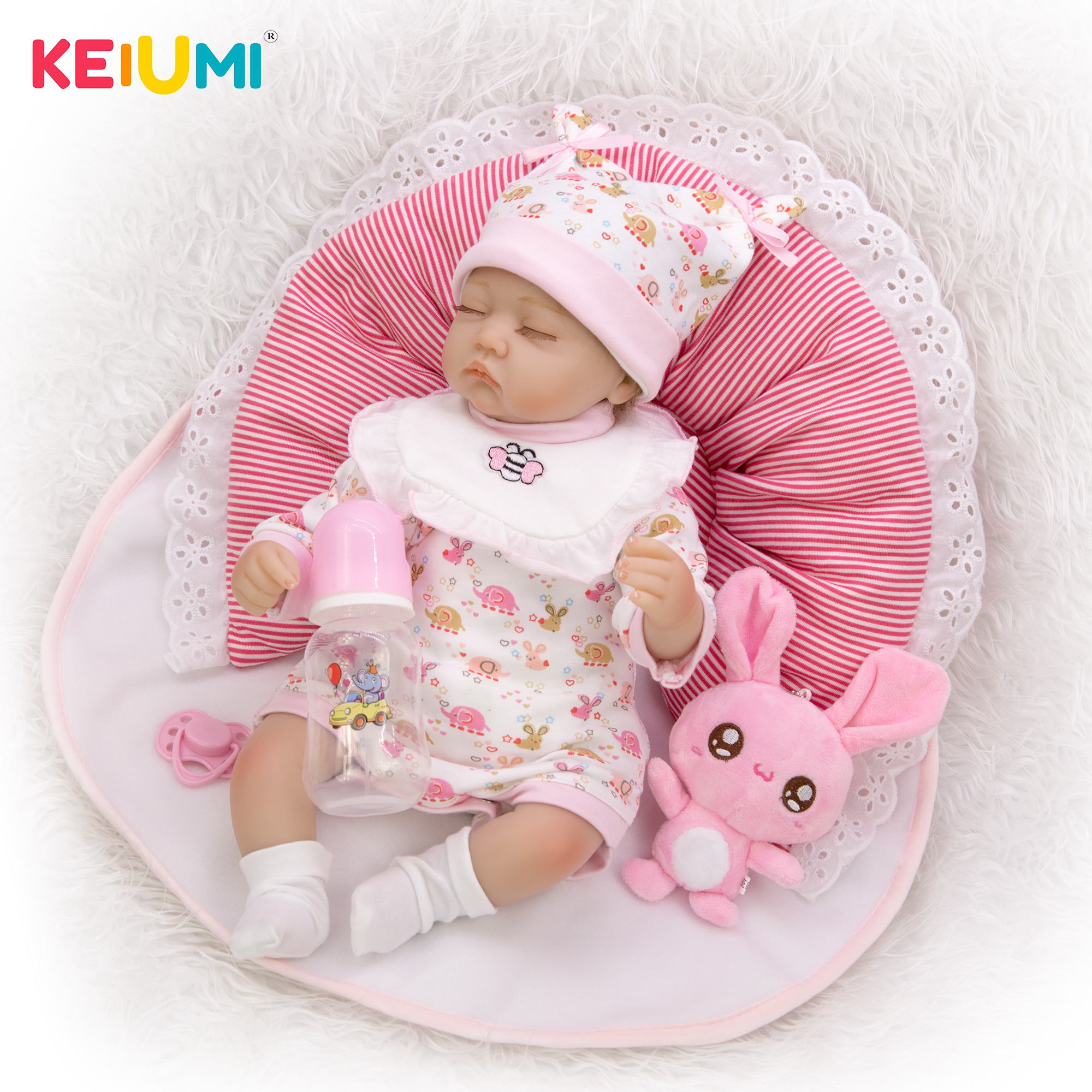 KEIUMI 17'' Silicone Reborn Dolls For XMAS Gifts Closed Eye Cute Doll Baby Reborn 43 cm Birthday Wedding Gifts-in Dolls from Toys & Hobbies    1