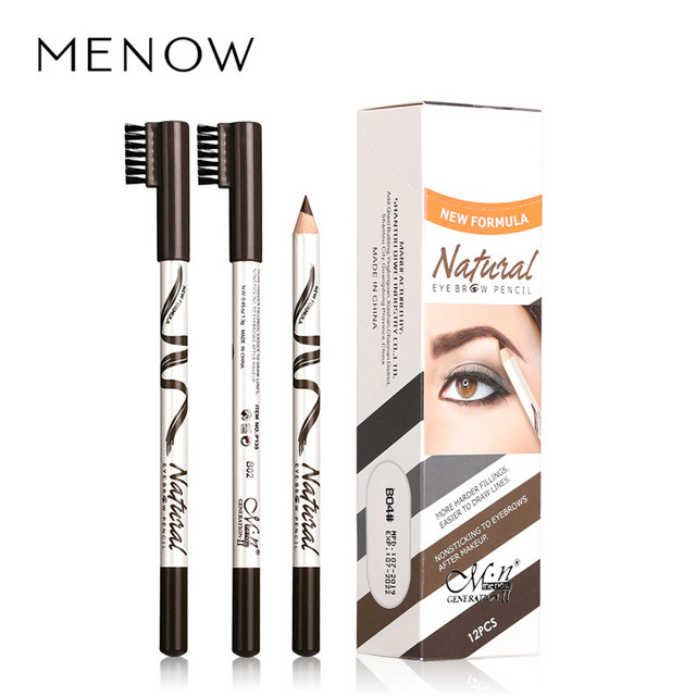 Menow 1pc eyebrow Waterproof Black Brown Eyebrow Tattoo Pencil Long-lasting Eyebrow Enhancer with Brush Makeup Cosmetic Tools 3