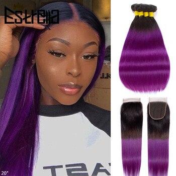 Омбре пряди волос бразильские Прямые T1B/фиолетовый 3 Омбре пряди с закрытием 4x4 кружева закрытие прямые волосы Remy T1B фиолетовый