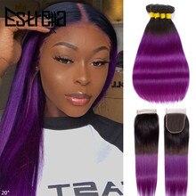 オンブルストレート人間の髪のバンドル閉鎖T1B紫ブラジル毛織りバンドルレミー 100% 人間の髪のバンドル閉鎖