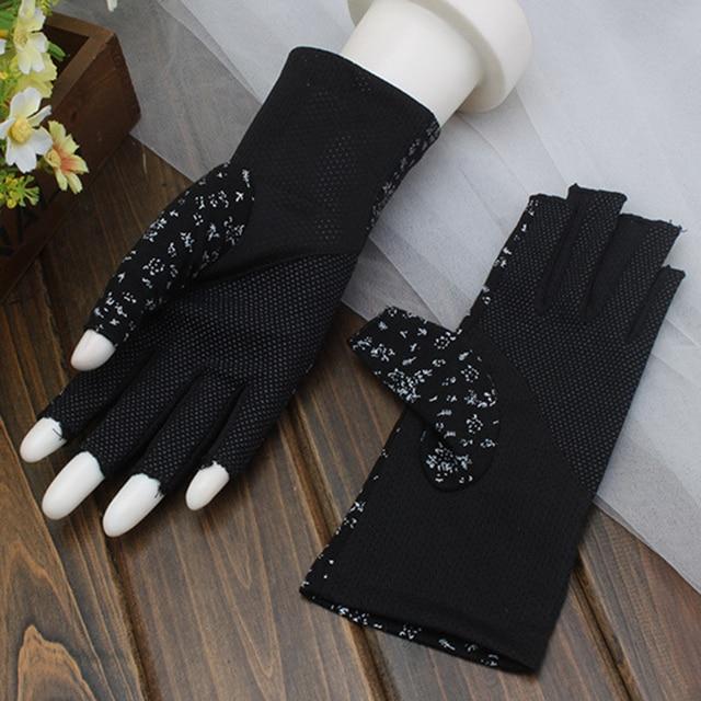 Women's Cotton Summer Gloves Fingerless Half Finger Anti-Skid Sun Protection Printing Thin Dot Short Driving Gloves 5
