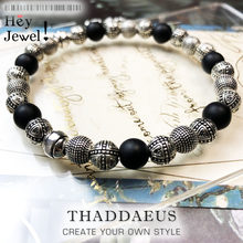 Bracelets en argent Sterling 925 pour hommes, perles croisées et obsidienne, cadeau tendance, Style européen, cœur Rebel