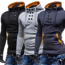 2019 Men Hoodie Sweatshirts Double-breasted Casual Hooded Pullover Autumn and Winter