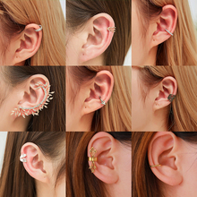 LETAPI Fashion No Pierced Ear Clip Cuff Wrap Earrings Leaf Feather Pendant Non-piercing for Women Party Statement