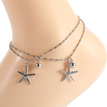 imixlot Fashion Bohemian Starfish Charms Bracelets Anklets For Women Summer Foot Chain Bell Jewelry Gift