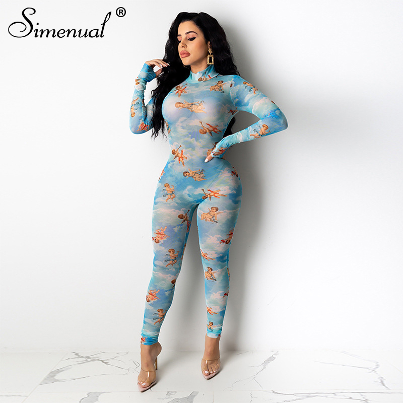 Simenual Sexy Hot Angel Print Mesh Rompers Womens Jumpsuit Long Sleeve Skinny Fashion See Through Bodycon Long Party Jumpsuits