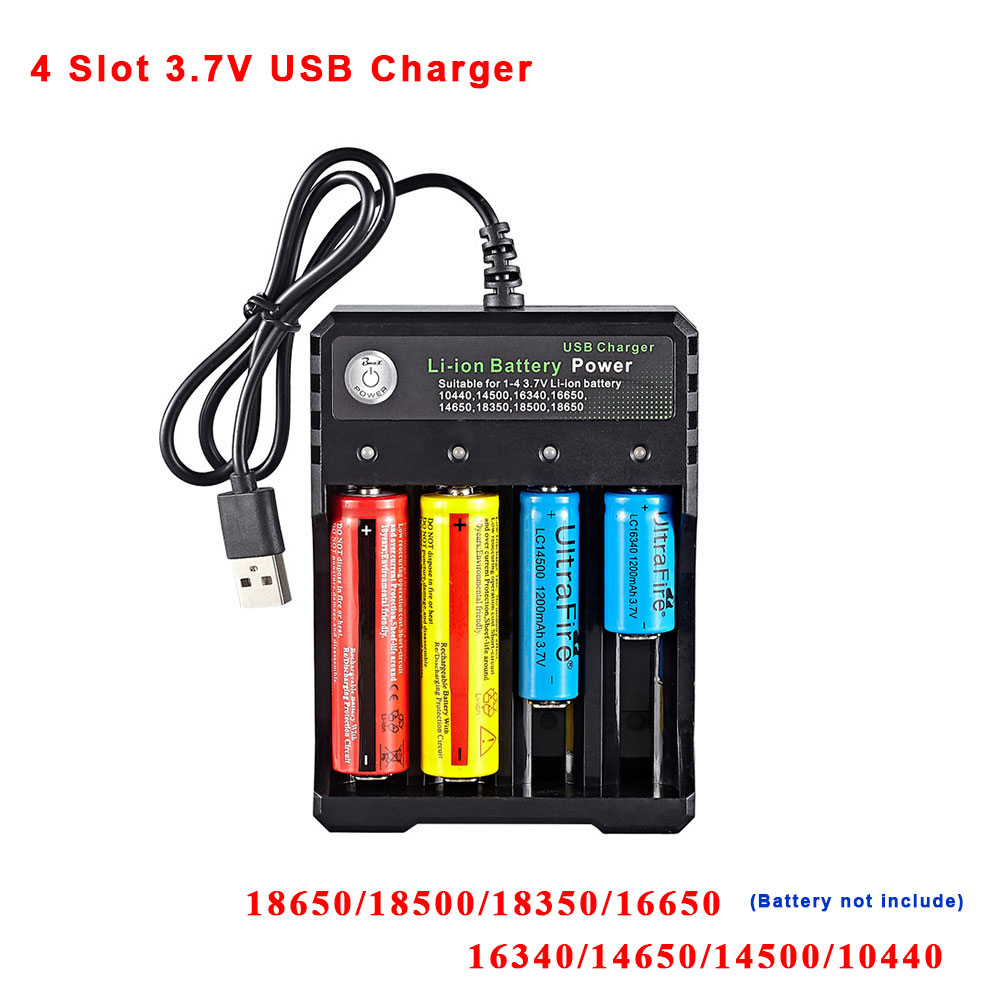 Universal 4 slot USB Charger <font><b>Battery</b></font> Charger for 18650 18500 18350 <font><b>16650</b></font> 16340 14650 14500 10440 3.7V lithium <font><b>Battery</b></font> image