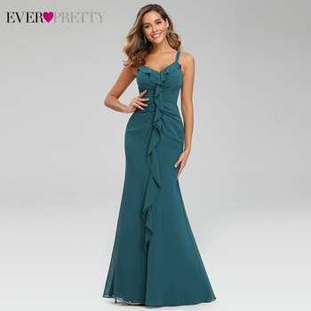 Sexy Teal Prom Dresses Ever Pretty Ruffles V-Neck Spaghetti Straps Ruched Simple Chiffon Mermaid Party Gowns Vestido Largo Gala 3