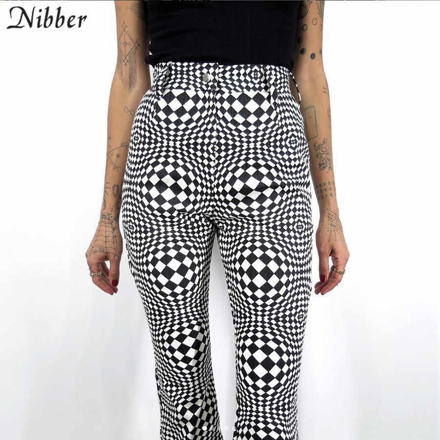 Nibber Retro ekose baskı flare pantolon kadınlar 2019 sonbahar kış ofis vahşi Ince Yumuşak pantalon femme siyah Temel rahat pantolon mujer