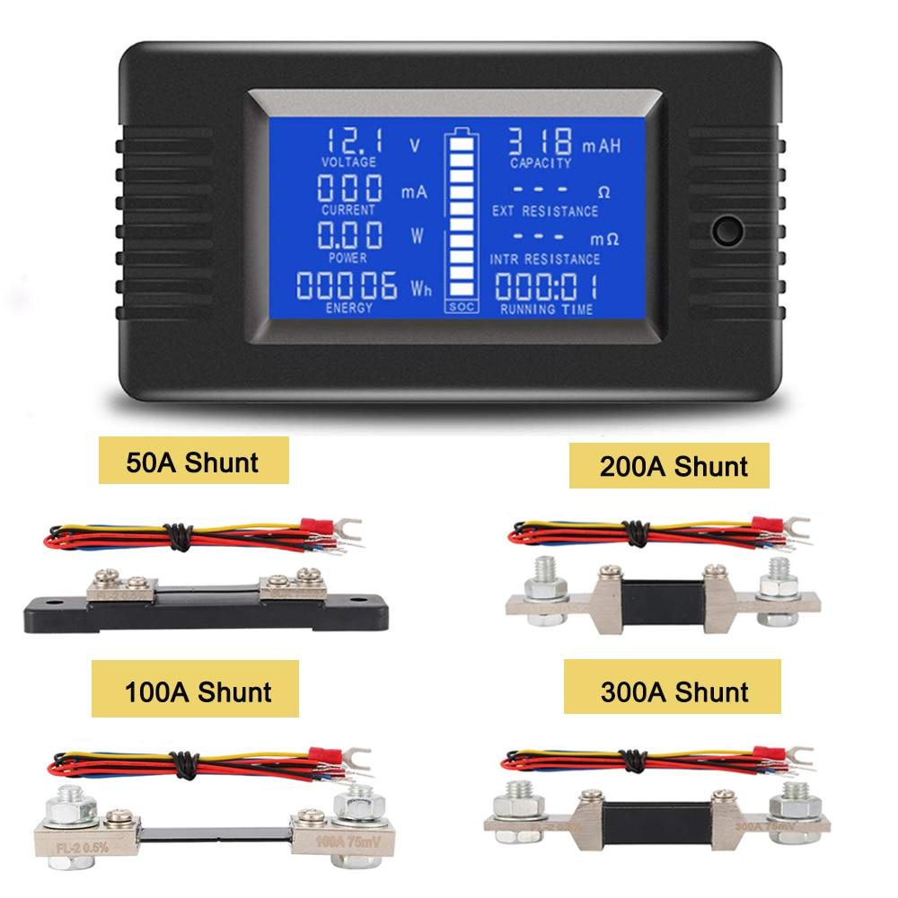 Шунт-вольтметр, амперметр постоянного тока 0-200 в, а, тестер автомобильного аккумулятора, измеритель емкости, сопротивления, напряжения элек...