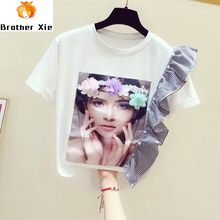 Tshirt for Woman 2020 Summer Wear New Stereo Flower Beads Flounced Beauty Girl Print Short Sleeve Round Collar T-shirt Casual T(China)
