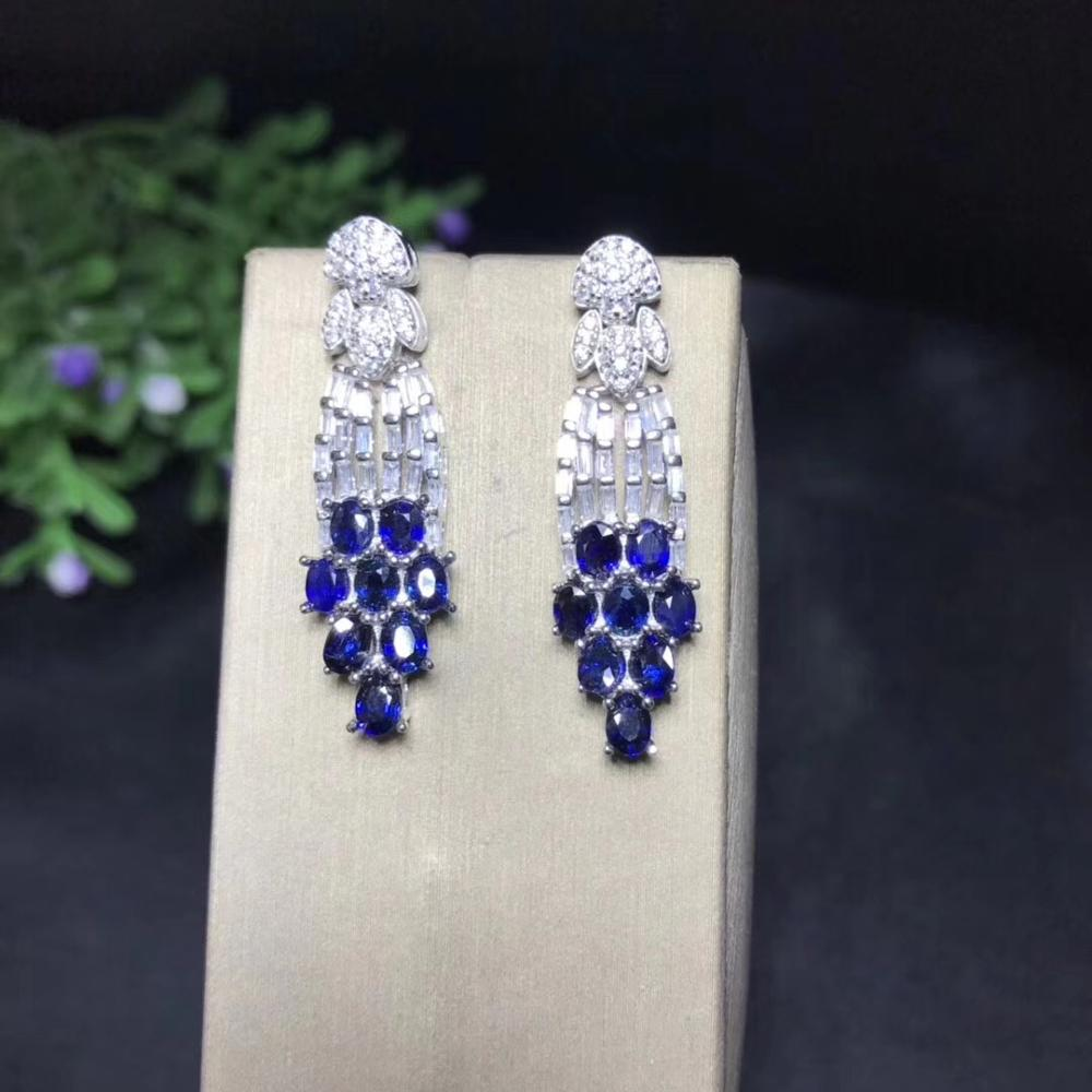 The Latest Design, 925 Pure Silver Natural Sapphire Earrings, Tassel, Luxury And Exquisite, High-end Jewelry Earrings.
