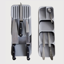 KHGDNOR Plastic Knife Block Holder Drawer Knives Forks Spoons Storage Rack Knife Stand Cabinet Tray Kitchen Cultery Organizer cheap knife organizer tray grey green 39 5*13*7cm 15 6*5 12*2 76inch food grade pp knife storage 1 pc knives storage organizer