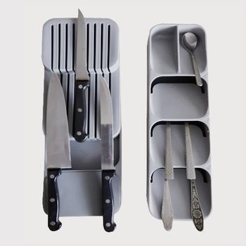 KHGDNOR nóż z tworzywa sztucznego blok uchwyt szuflady noże widelce łyżki przechowywania stojak nóż szafka stojąca taca kuchnia Cultery organizator tanie i dobre opinie knife organizer tray grey green 39 5*13*7cm 15 6*5 12*2 76inch food grade pp knife storage 1 pc knives storage organizer