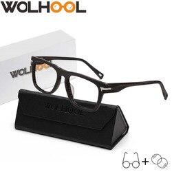 Бренд Для мужчин по рецепту очки деревянный каркас Квадратный оптический очки Óculos прозрачные линзы ретро очки Для мужчин солнцезащитные