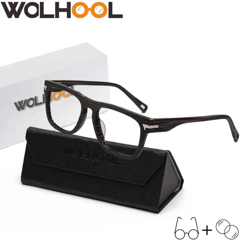 Brand Men Prescription Glasses Wood Frame Square Optical Glasses Spectacles Oculos Clear Lens Retro Eyewear Men's Gafas
