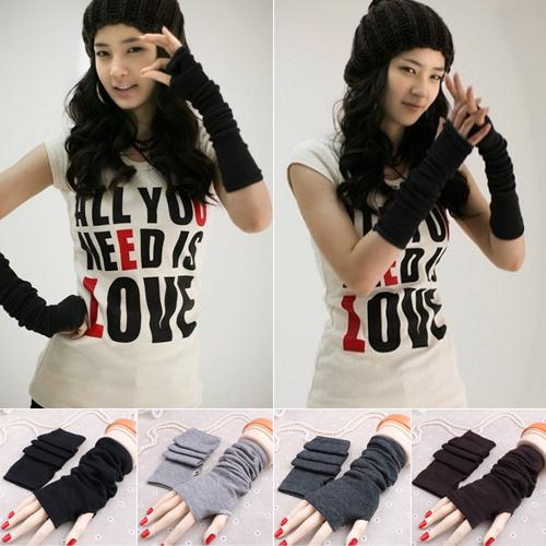 2019 Black Friday Women's Fashion Knitted Arm Fingerless Long Mitten Wrist Elastic Warm Gloves Christmas Gifts варежки хаски