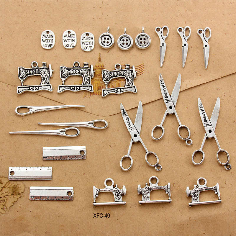 24 Buah/Banyak Barang Antik Paduan Perak Tombol Jarum Gunting Jahit Mesin Charms Liontin Gelang Kalung Perhiasan Aksesoris