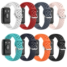 Pulseira de relógio de silicone respirável pulseira para huawei watch fit smart watch