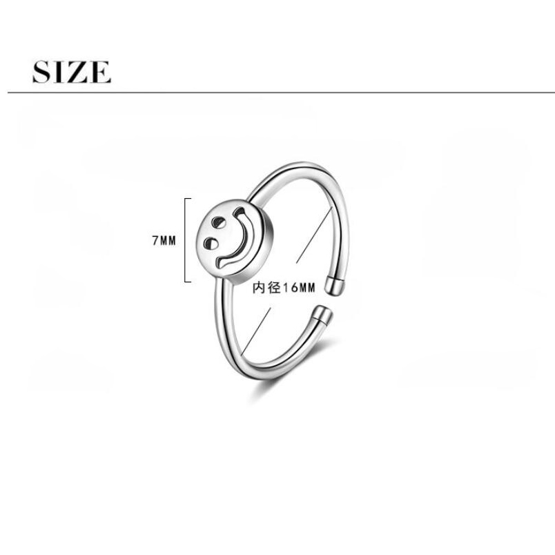 Купить с кэшбэком New Hot Sale Smile Finger Smiling Face Ring Women Smiling Happy Silver Circular Rings Twisted Rock Fashion Jewelry