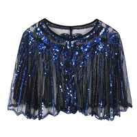 Frauen 1920s Europäischen Vintage Schal Glitter Pailletten Gestreiften Perlen Sheer Luxus Deco Abend Cape Dance Bolero Flapper Abdeckung Up