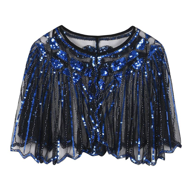 Womens 1920s European Vintage Shawl Glitter Sequins Striped Beaded Sheer Luxury Deco Evening Cape Dance Bolero Flapper Cover Up