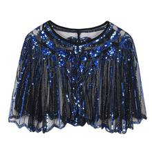 Womens 1920s European Vintage Shawl Glitter Sequins Striped Beaded Sheer Luxury Deco Evening Cape Dance Bolero Flapper Cover Up(China)