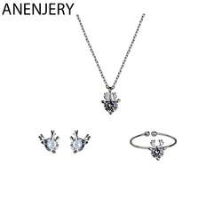 ANENJERY 925 Sterling Silver Tiny Dainty Christmas Gift Cubic Zirconia Deer Necklace+Earrings+Ring Jewelry Sets