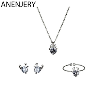 ANENJERY Tiny Dainty Christmas Gift Cubic Zirconia Deer Necklace+Earrings+Ring S925 Stamp Silver Color Jewelry Sets