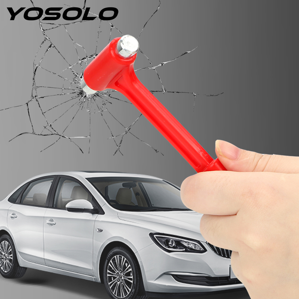 YOSOLO Car Safety Hammer Life-Saving Car Safety Escape Glass Window Breaker Emergency Hammer Seat Belt Cutter Car Accessories image