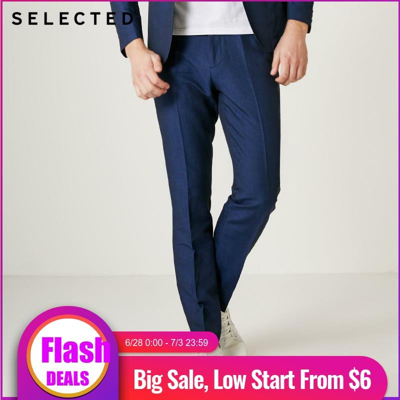 SELECTED Men Slim Fit Pure Color Cotton & Linen Blending Suit Pants S|419218507