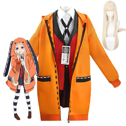 Anime Kakegurui Cosplay Costumes Runa Yomozuki Kakegurui Hoodie School Uniforms Wig Halloween Costume Dress For Women Girls