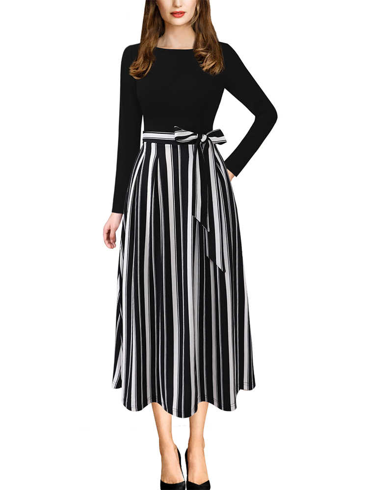 Vfemage Womens Elegante Vintage Herfst Zakken Belted Werk Office Business Casual Party Fit En Flare Thee A-lijn Midi Jurk 3609
