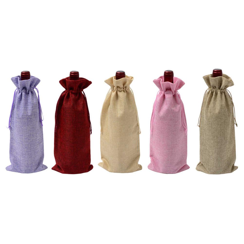 5 Stuks Jute Wijnfles Zakken Met Koord Herbruikbare Wijn Bakken Fles Wrap Gift Pouches