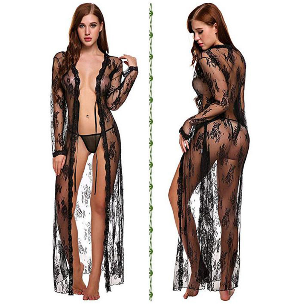 Erotic Sexy Lingerie Womens Plus Size S-2XL Perspective Sexy Underwear Kimono Robe Babydoll Sex Costumes Langerie With G String