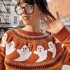 Yangelo Gothic Ghost Pattern Sweater Women Knit Top Loose Long Sleeves Warm Autumn Winter Streetwear Fashion Girl Pullover 2020 3