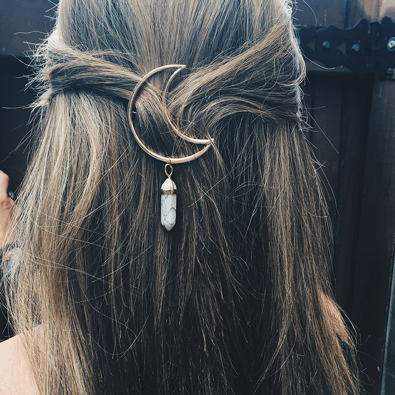 Crescent Moon Hair Clip Tassels Hexagon Prism Charming Hairpins Crystal Hair Clips Hair Pins Styling Tools Gifts For Women Girls