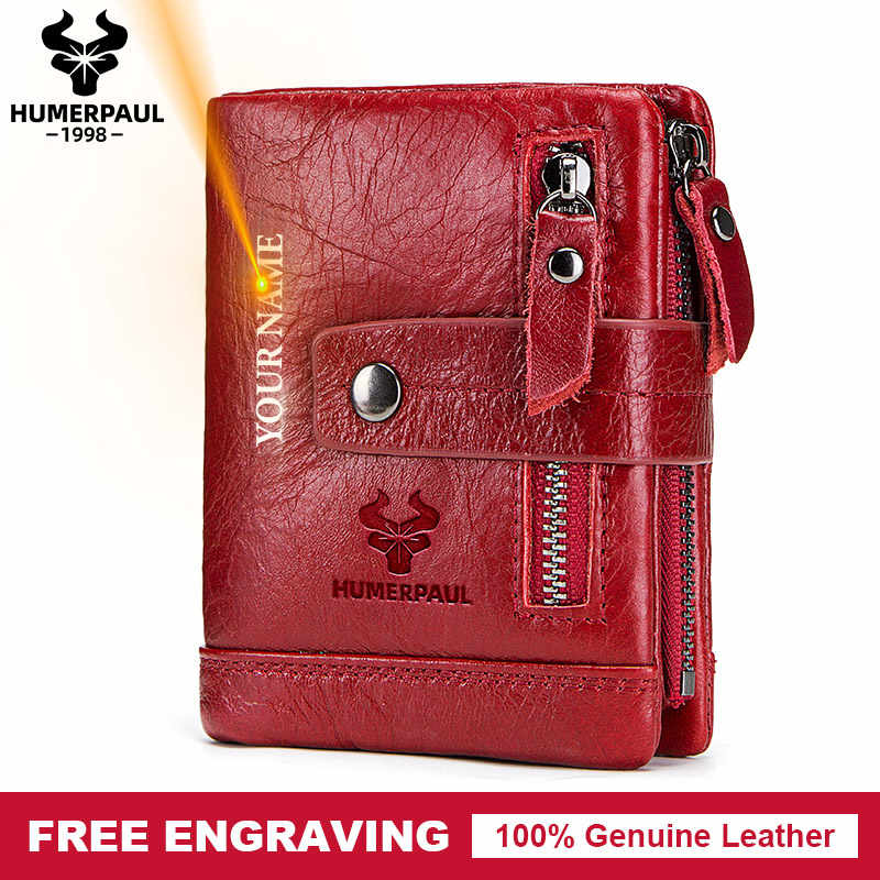 Free Engraving Gift Genuine Leather Women Wallet Female Coin Purse Small Card Holder Portomonee Lady Walet for Friend Money Bag