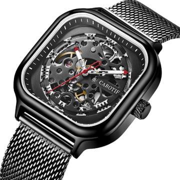 CAROTIF Watch Men Automatic Mechanical Skeleton Watches Mens Waterproof Square Wristwatches Top Brand Fashion Relogio Masculino