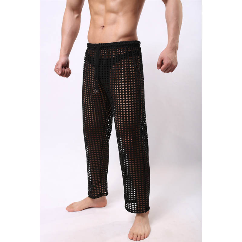 Men's Hollow Long Pants Lace-up Breathable Trousers Mens Home Casual Loose Sleep Bottoms Pajama Mesh Long Johns Pants Underpants