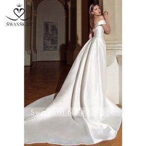 Image 5 - Swanskirt Vintage Áo Cưới Năm 2020 Thời Trang Cổ Thuyền Lệch Vai Chữ A Pha Lê Satin Công Chúa Cô Dâu Đầm Vestido De Novia GY24