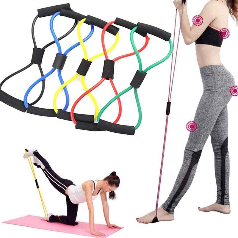 Йога Сопротивление упражнения полосы тренажерный зал оборудование для фитнеса Тяговая веревка 8 слов грудь расширитель эластичная мышечная тренировочная трубка Натяжная веревка-0