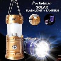 Lampe de Camping USB Rechargeable lumière de Camping en plein air tente lumière lanterne énergie solaire lampe pliable lampe de poche torche de secours