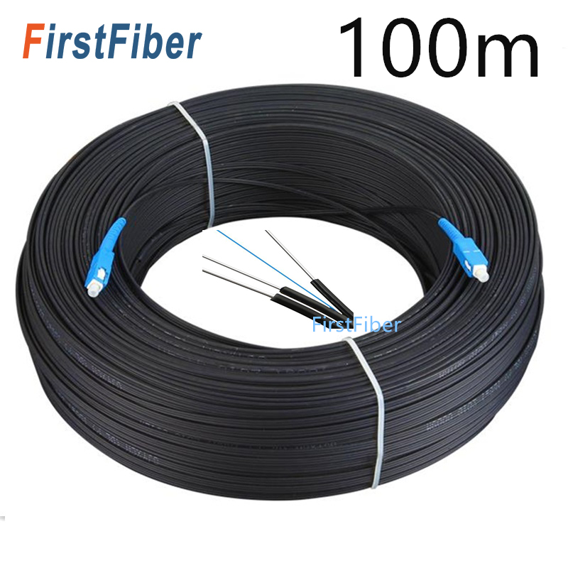100m FTTH Fiber Optic Drop Cable SC UPC  Single Mode Simplex  LC Outdoor Optical Fibre Optic Patch Cord  Drop Cable Wire Fibra