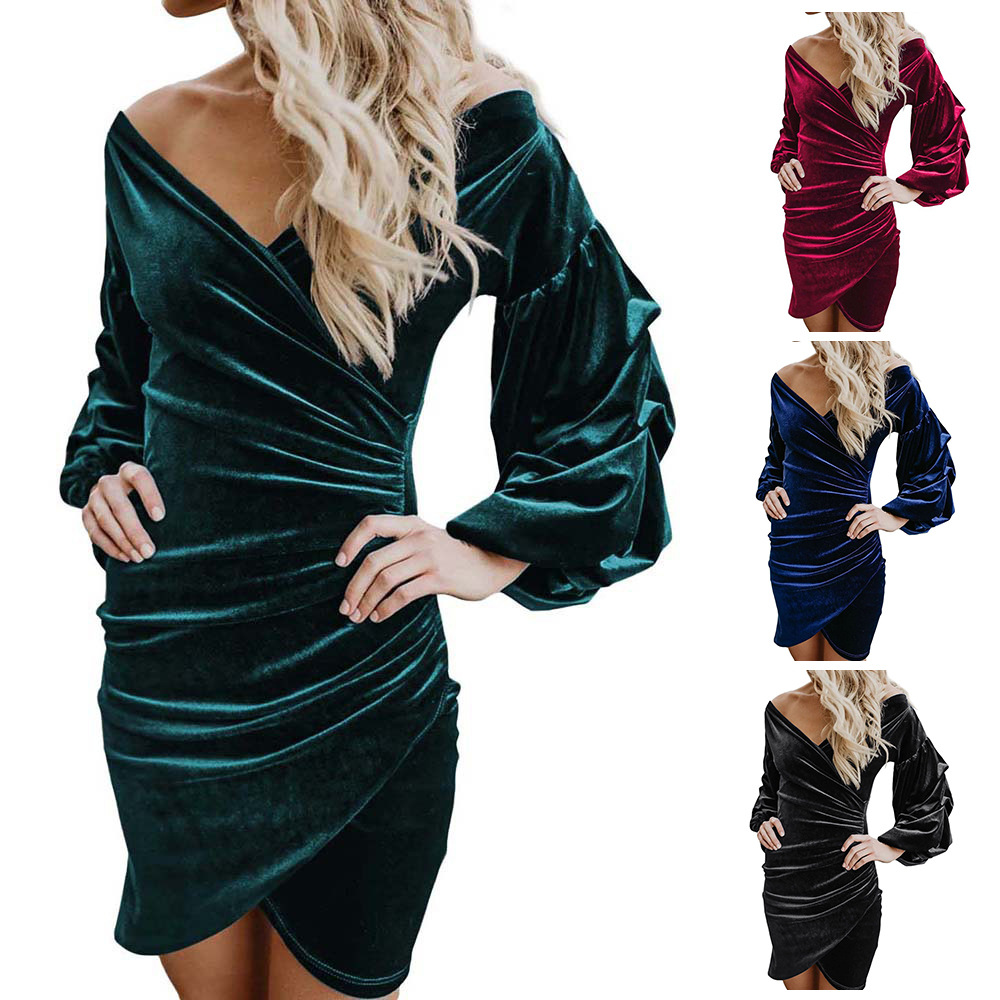 Hot Selling 2020 New Style Europe And America WOMEN'S Dress Solid Color V-neck Long Sleeve Velvet Tight Dress 221181